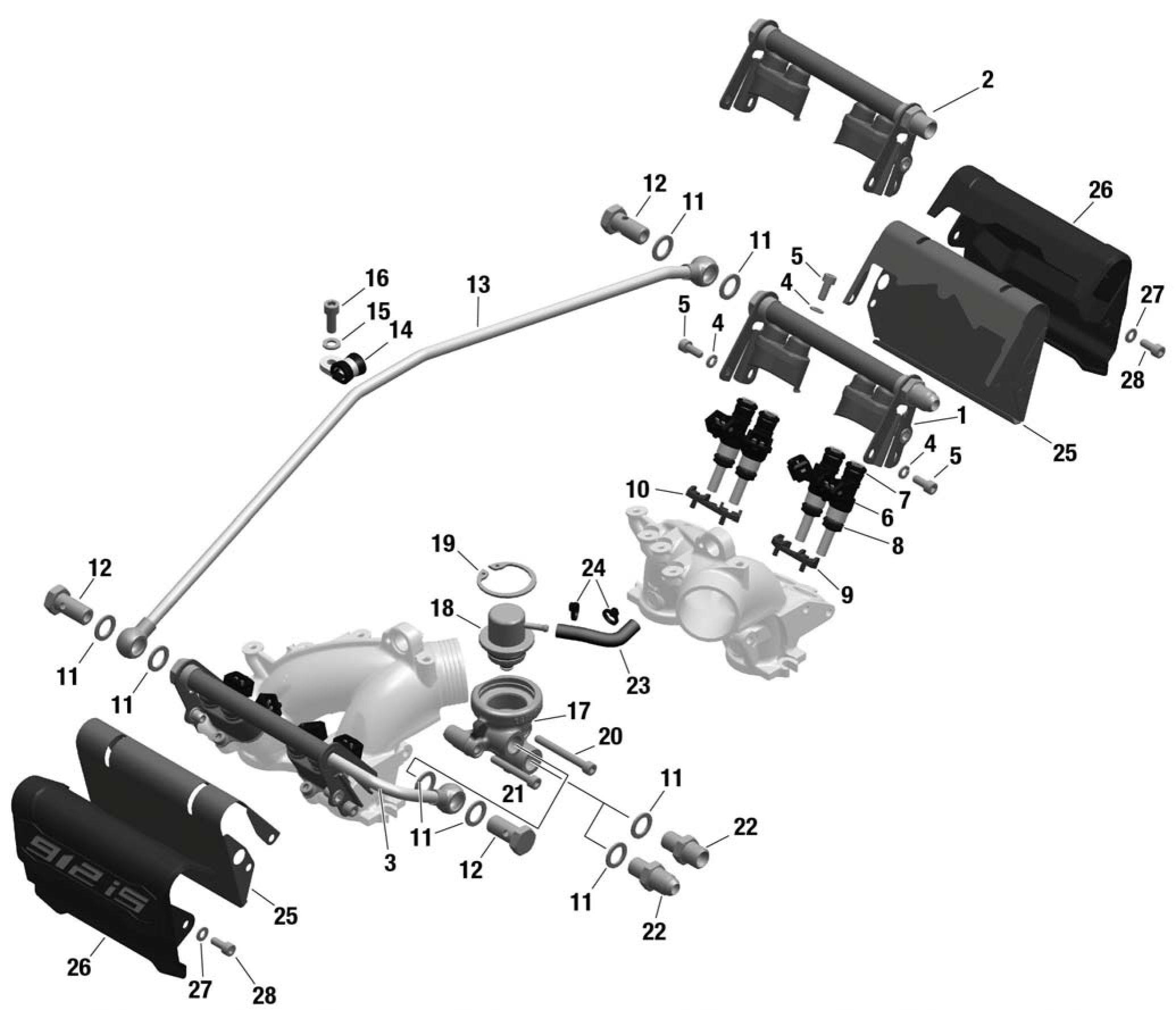 912 iS Fuel Injector, Fuel Rail, Pressure Regulator, Fuel Rail Cover