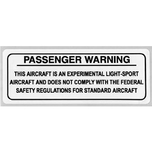 "Aluminum Passenger Warning Placard  4""L X 1-1/2""W"