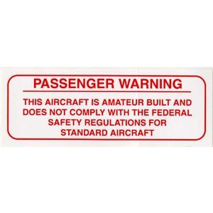 Amateur Built Passenger Warning Placard, red