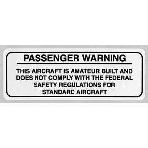 Amateur Built Passenger Warning Placard, black