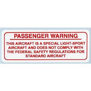 Special Light Sport Passenger Warning Placard, red