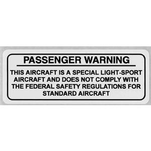 Special Light Sport Passenger Warning Placard, aluminum