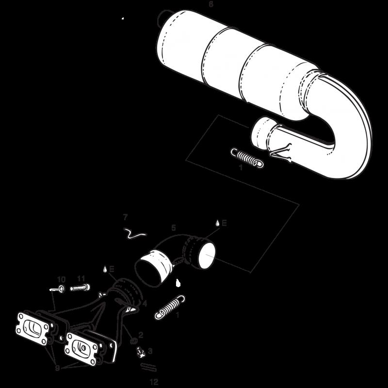 ROTAX Exhaust System Sidemount Configuration 447 UL, 503 UL, 582 UL