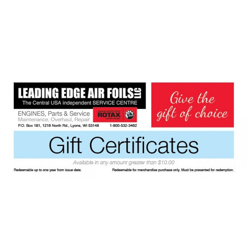 Leading Edge Air Foils Certificates starting at $10.00