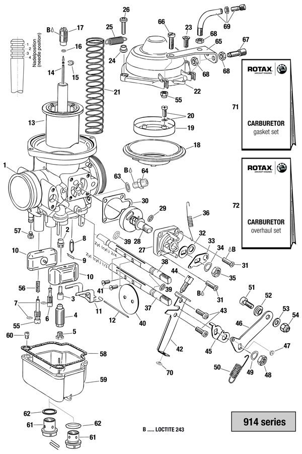 914 series carburetor - single parts